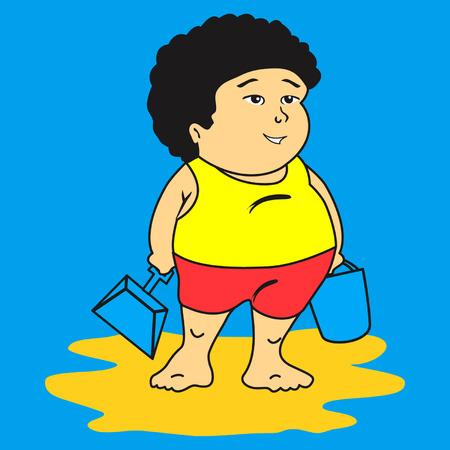 White kid at beach Ilustração