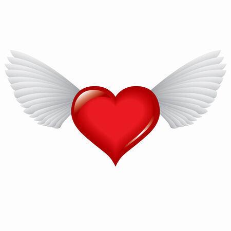 Winged red heart