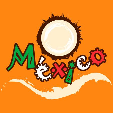 mexico beach: Mexican coconut ocean logo
