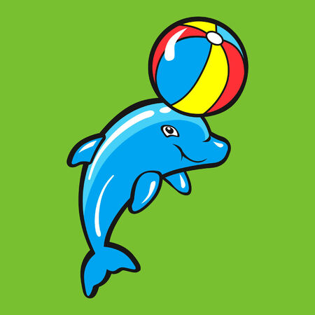dolphin playing with beach ball Illustration
