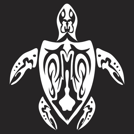 skeleton fish: Tribal turtle design