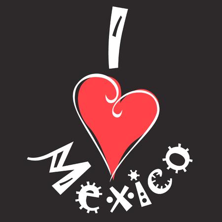I love Mexico logo Vector