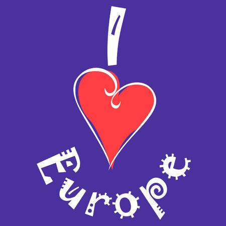I love Europe logo Vector