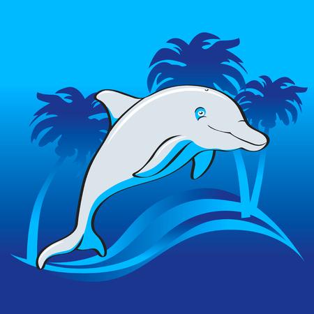 Jumping happy dolphin