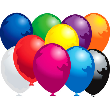 Ten colorfully balloons
