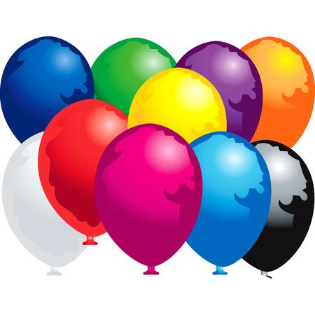 Ten colorfully balloons