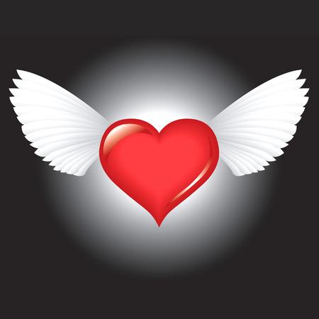 Winged rood hart 's nachts Stock Illustratie