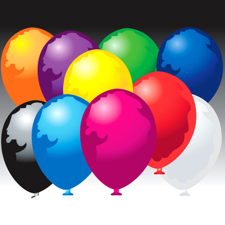 Ten colored balloons Illustration