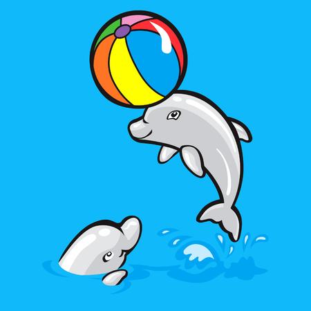 screen print: Due delfini Vettoriali