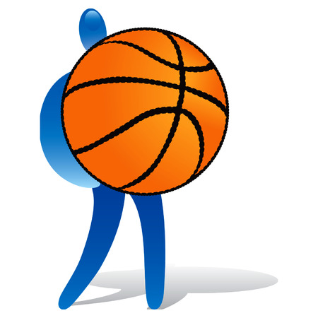 nba: Human with huge basket ball Illustration