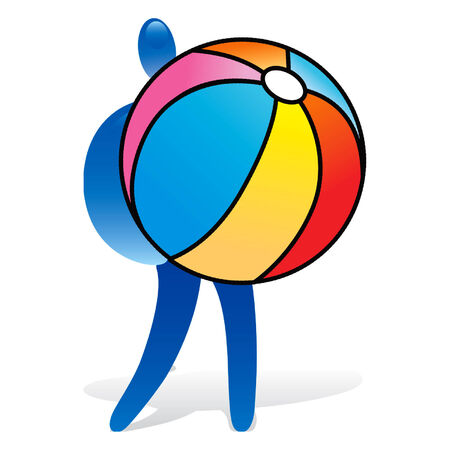 Man with beach ball 矢量图像