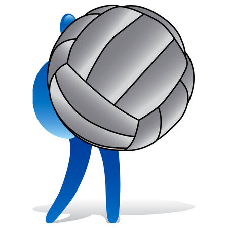volley ball: Man with huge volley ball Illustration