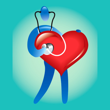 heart disease: Heart care guy Illustration