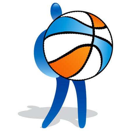 balon baloncesto: El hombre con el baloncesto femenino  Vectores