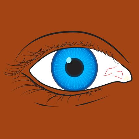 blue eye van een zwarte race vrouw Stock Illustratie
