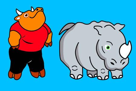 Bull and Rhino draw comic cartoon friends
