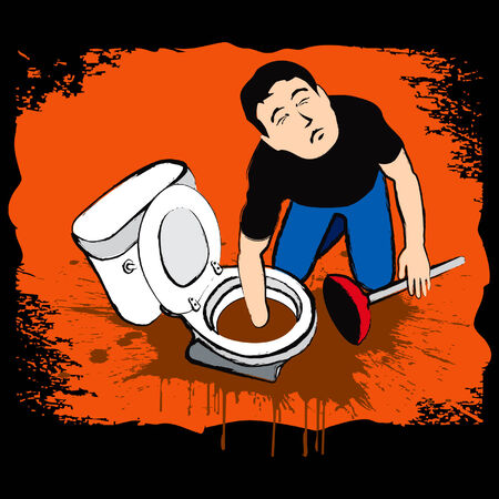 Man fixing hard dirty troubleshooting at restroom