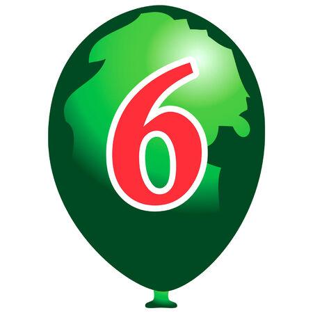 数は 6 と緑の風船