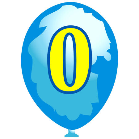 Blue balloon with number zero