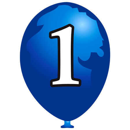 Indigo balloon with number one