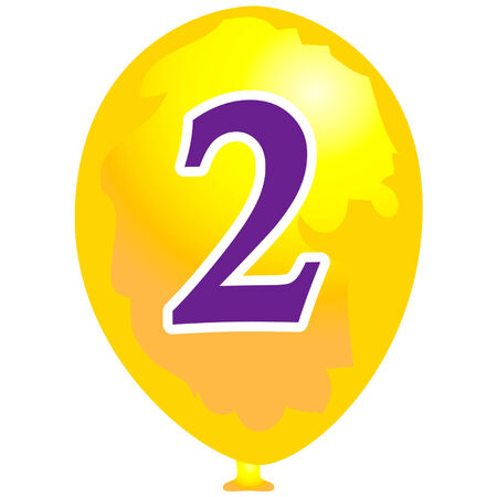 Yellow balloon with number two Ilustrace