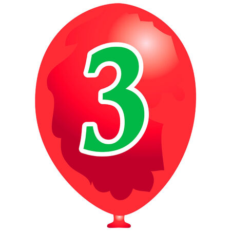 arabic number: Red balloon with number three Illustration