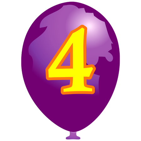 arabic number: Violet balloon with number four