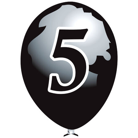 Black balloon with number five Vector