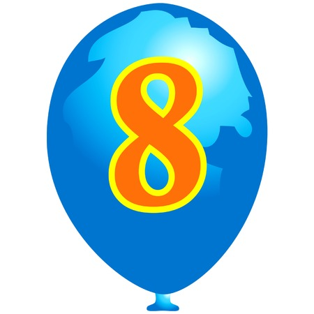 Blue balloon with number eight Ilustrace