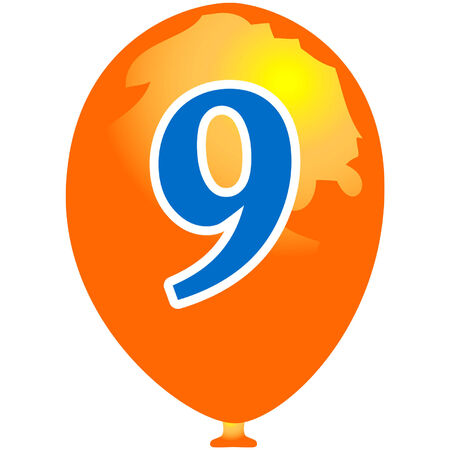arabic number: Orange balloon with number nine