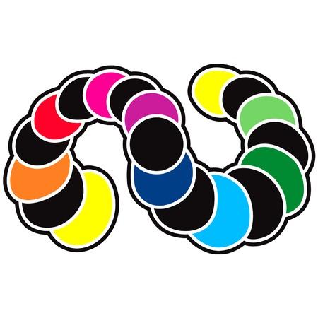 Raimbow strip serpent snake moon phases transit Ilustrace