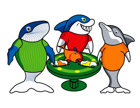facture restaurant: Trois amis de jeu