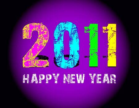 0 1 years: Grunge 2011 new year logo Stock Photo