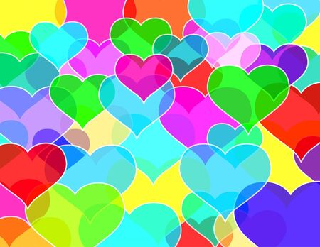 Transparent hearts wall Stock Photo