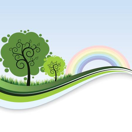 Clear Landscape Banner Template with Tree and Rainbow