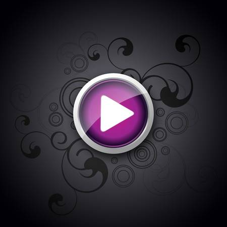 Play Button with Background Artistic Artwork - vector illustration