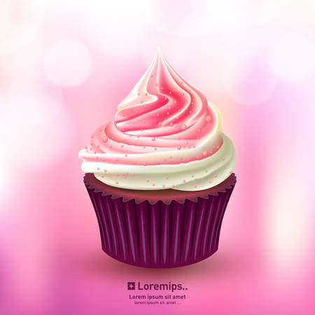cup cake: Pink cupcake vector