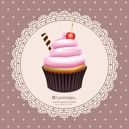 cupcake illustration: Vintage background with cupcake