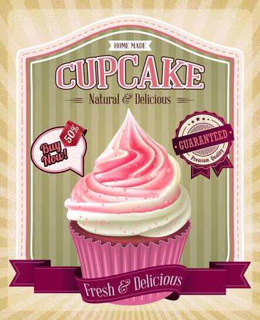 white poster: Vintage cupcake poster