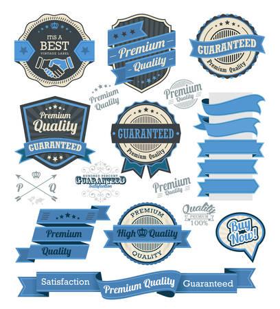 quality stamp: Set of vintage badges and design elements, vector illustration eps-10 Illustration