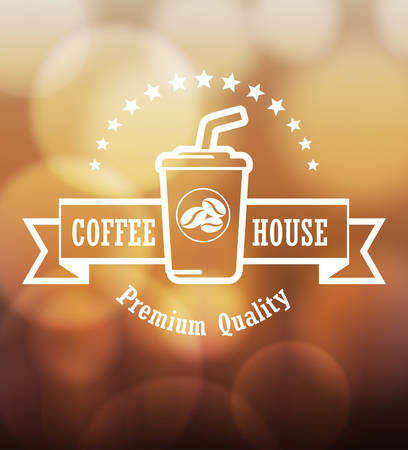 blurred lights: Premium coffee label design over blurred lights background