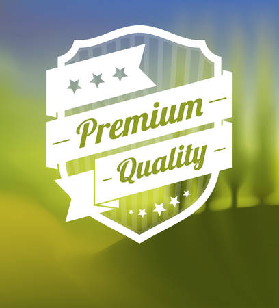 Premium label over blurred landscape background Illustration