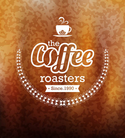 Premium coffee label design over blurred lights background