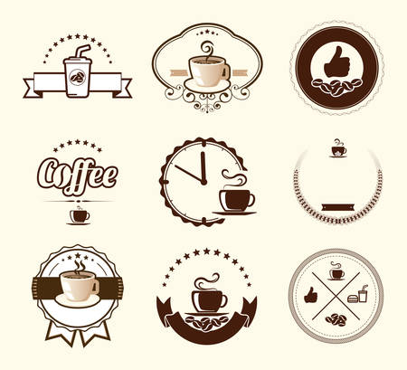 barista: Set of vintage coffee badges and labels