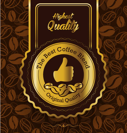 Best brand coffee label design Illustration