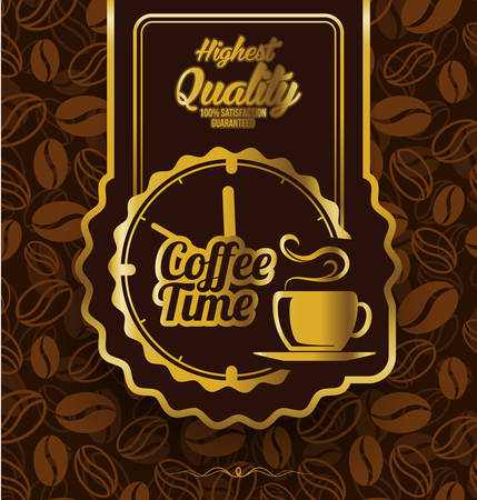 Coffee time label design over vintage background Illustration
