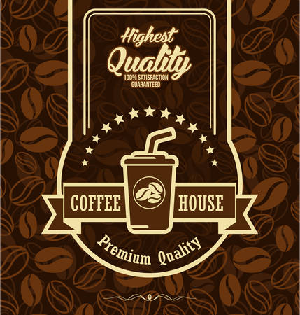 Brown background with coffee label Illustration