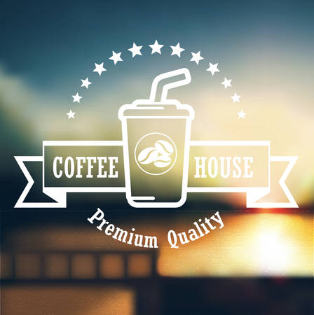 Premium coffee label design over defocus background Illustration