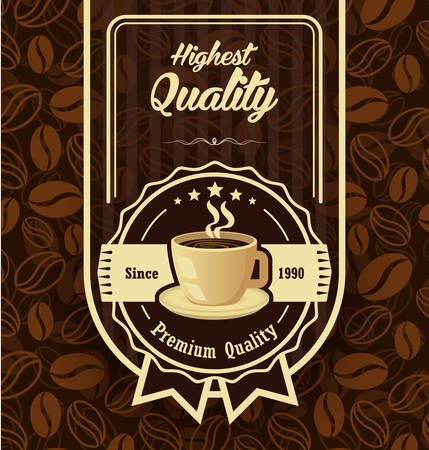 Brown pattern background with coffee label Illustration