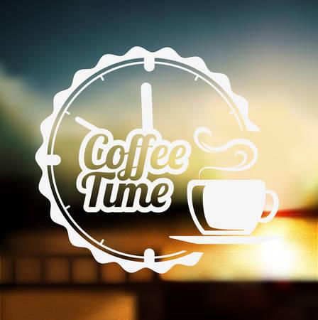 defocus: Premium coffee label design over defocus background Illustration